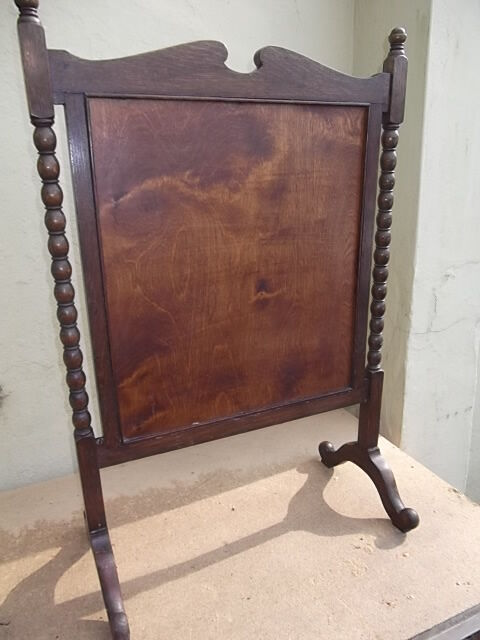 Vintage fire screen - Oak fire screen with embroidered linen coat of arms